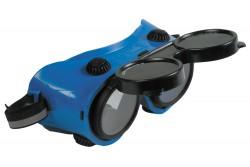 VÉDŐSZEMÜVEG ARTILUX WELD HEGES 0501038099999  511501038099999  Közvetett szellőzésű kék védőszemüveg két felbillenthető, kör alakú, F osztályú látómezővel. Korrekciós szemüveg fölött viselhető, védelmet nyújt a hegesztés során keletkező sugárzás ellen, hegesztésre alkalmas.